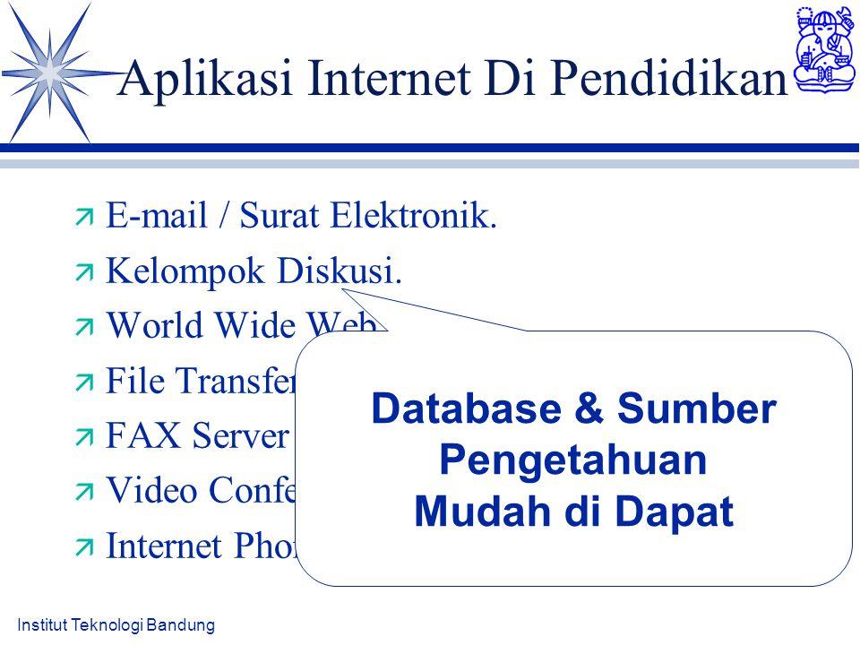 Institut Teknologi Bandung Aplikasi Internet Di Pendidikan ä E-mail / Surat Elektronik. ä Kelompok Diskusi. ä World Wide Web ä File Transfer ä FAX Ser