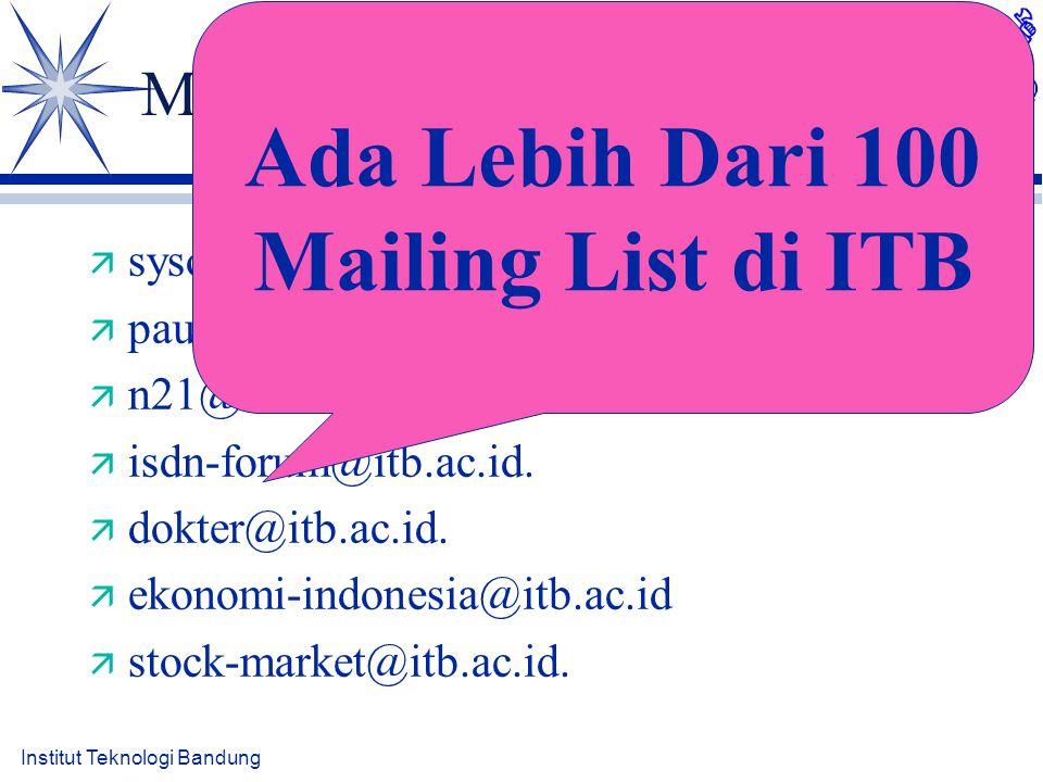 Institut Teknologi Bandung Mailing List Tempat Diskusi ä sysop-l@itb.ac.id. ä pau-mikro@itb.ac.id. ä n21@itb.ac.id. ä isdn-forum@itb.ac.id. ä dokter@i
