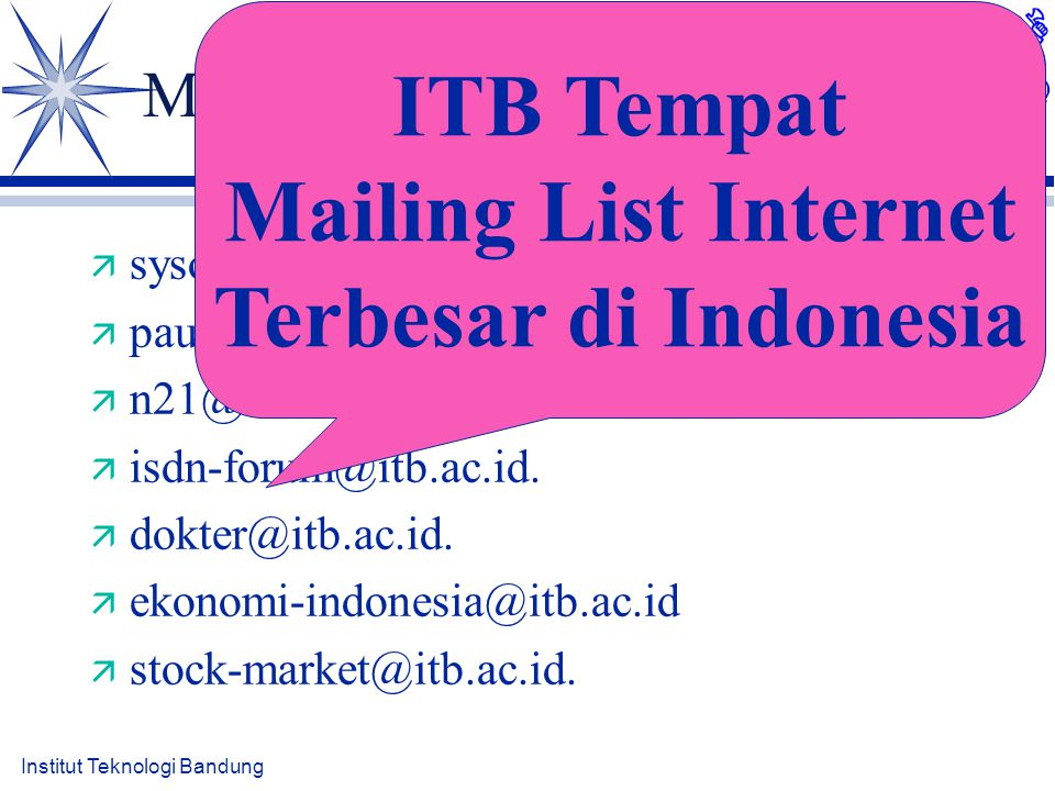 Institut Teknologi Bandung Mailing List Tempat Diskusi ä sysop-l@itb.ac.id.