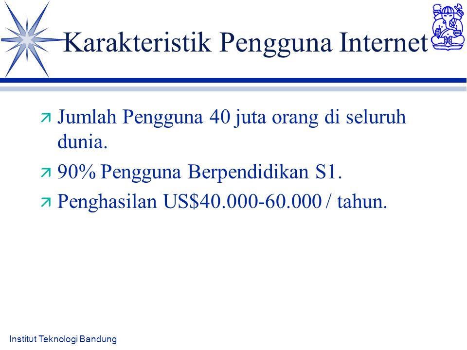Karakteristik Pengguna Internet ä Jumlah Pengguna 40 juta orang di seluruh dunia. ä 90% Pengguna Berpendidikan S1. ä Penghasilan US$40.000-60.000 / ta