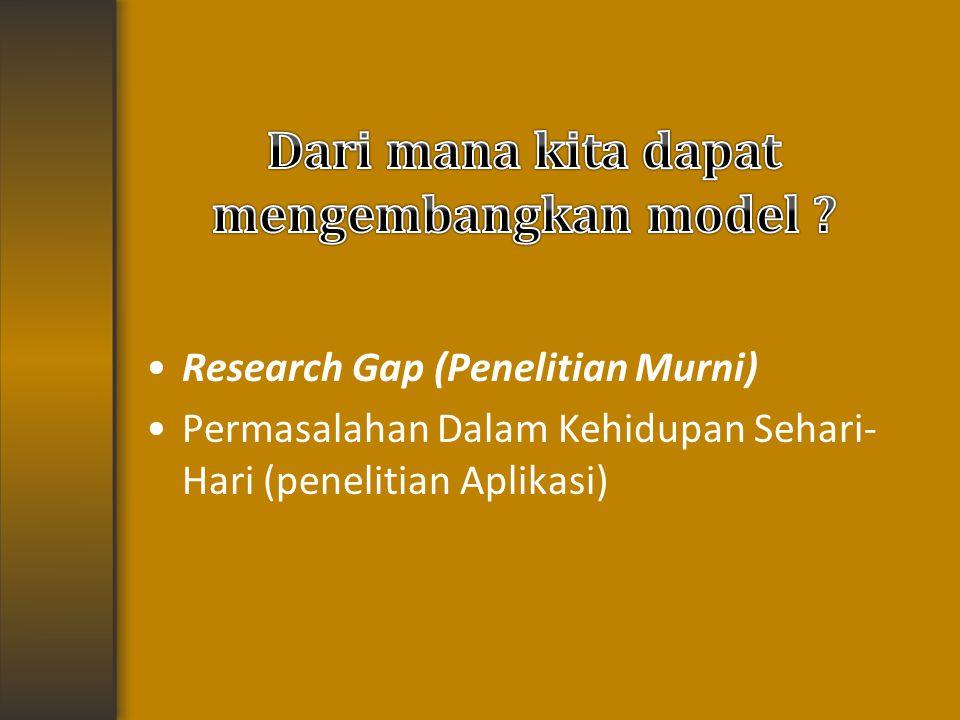 Research Gap (Penelitian Murni) Permasalahan Dalam Kehidupan Sehari- Hari (penelitian Aplikasi)