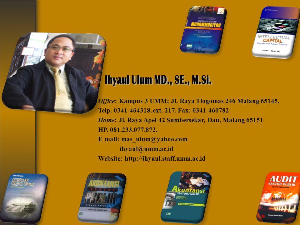 Office: Kampus 3 UMM; Jl. Raya Tlogomas 246 Malang 65145. Telp. 0341-464318. ext. 217. Fax: 0341-460782 Home: Jl. Raya Apel 42 Sumbersekar, Dau, Malan