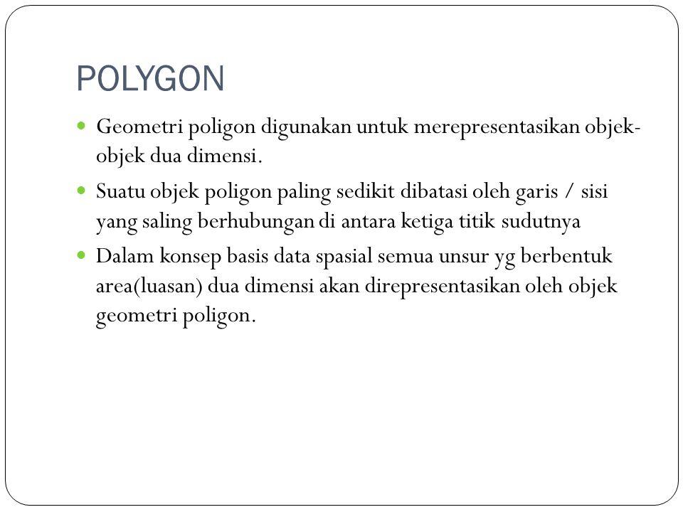 POLYGON Geometri poligon digunakan untuk merepresentasikan objek- objek dua dimensi. Suatu objek poligon paling sedikit dibatasi oleh garis / sisi yan