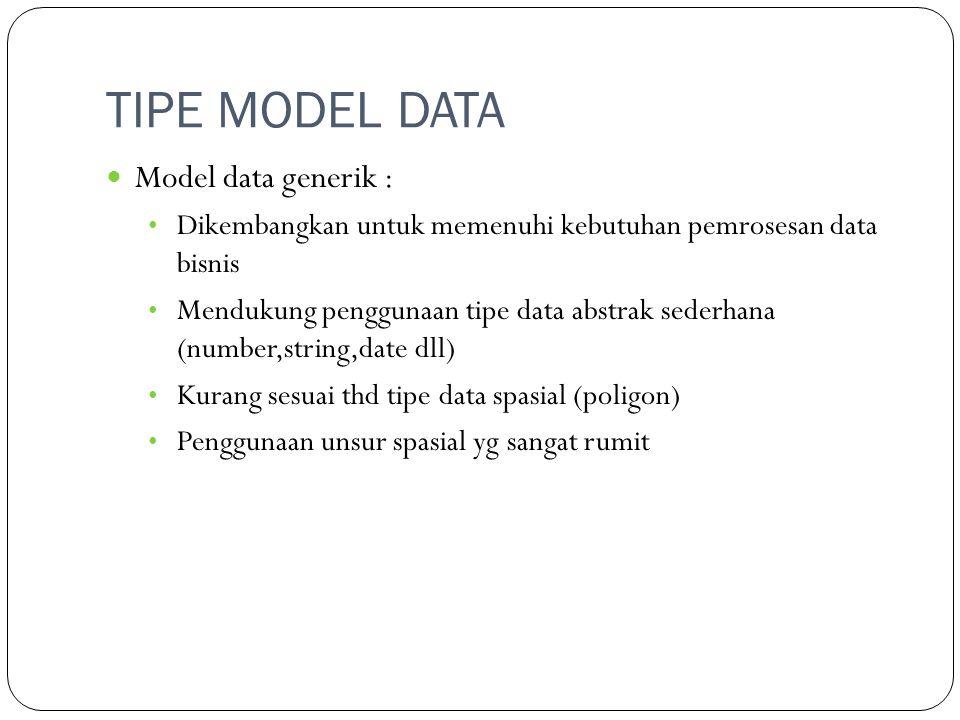 TIPE MODEL DATA Model data generik : Dikembangkan untuk memenuhi kebutuhan pemrosesan data bisnis Mendukung penggunaan tipe data abstrak sederhana (nu