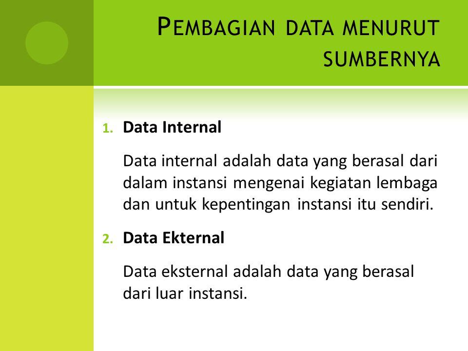 P EMBAGIAN DATA MENURUT SUMBERNYA 1.