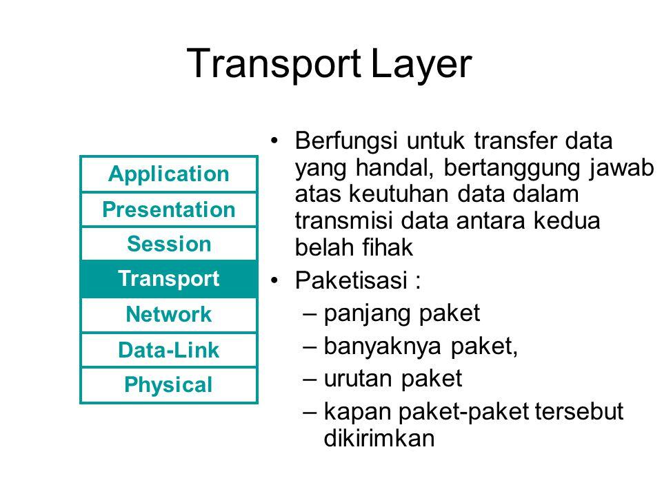 Sessin Layer Mengontrol komunikasi antar aplikasi, membangun, memelihara dan mengakhiri sesi antar aplikasi.
