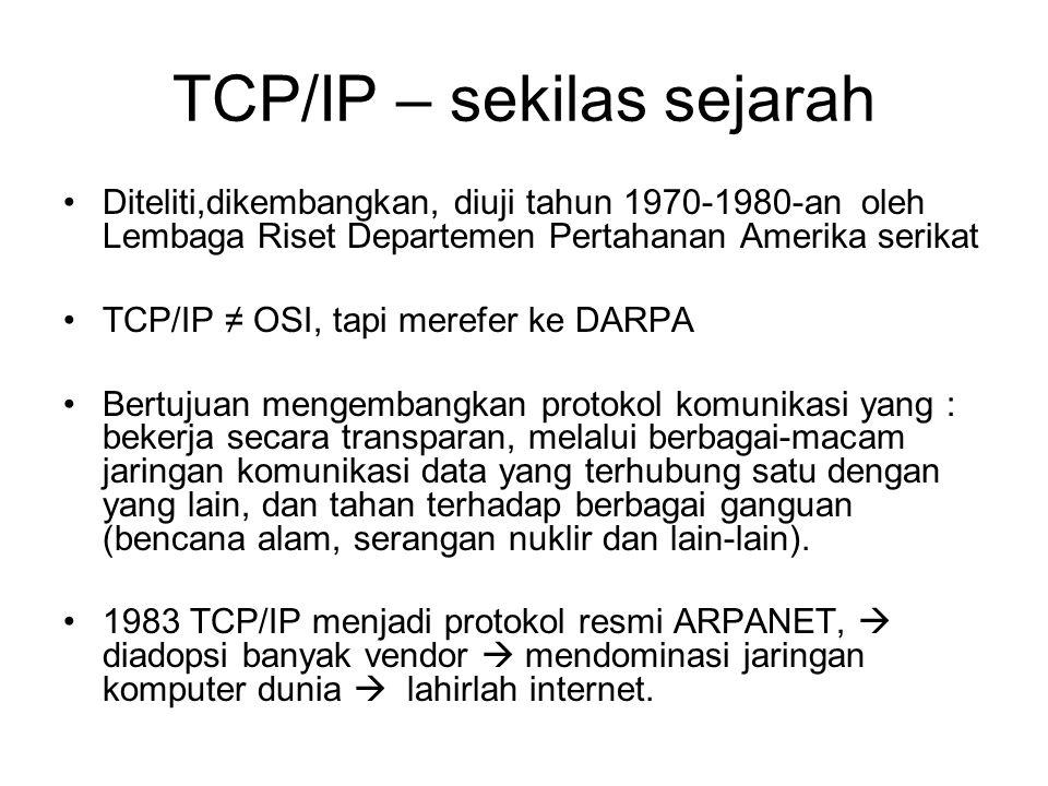 TCP/IP – sekilas sejarah Pelaku pengembangan saat itu : Internet Society (ISOC), Internet Architecture Board (IAB), dan Internet Engineering Task Force (IETF).