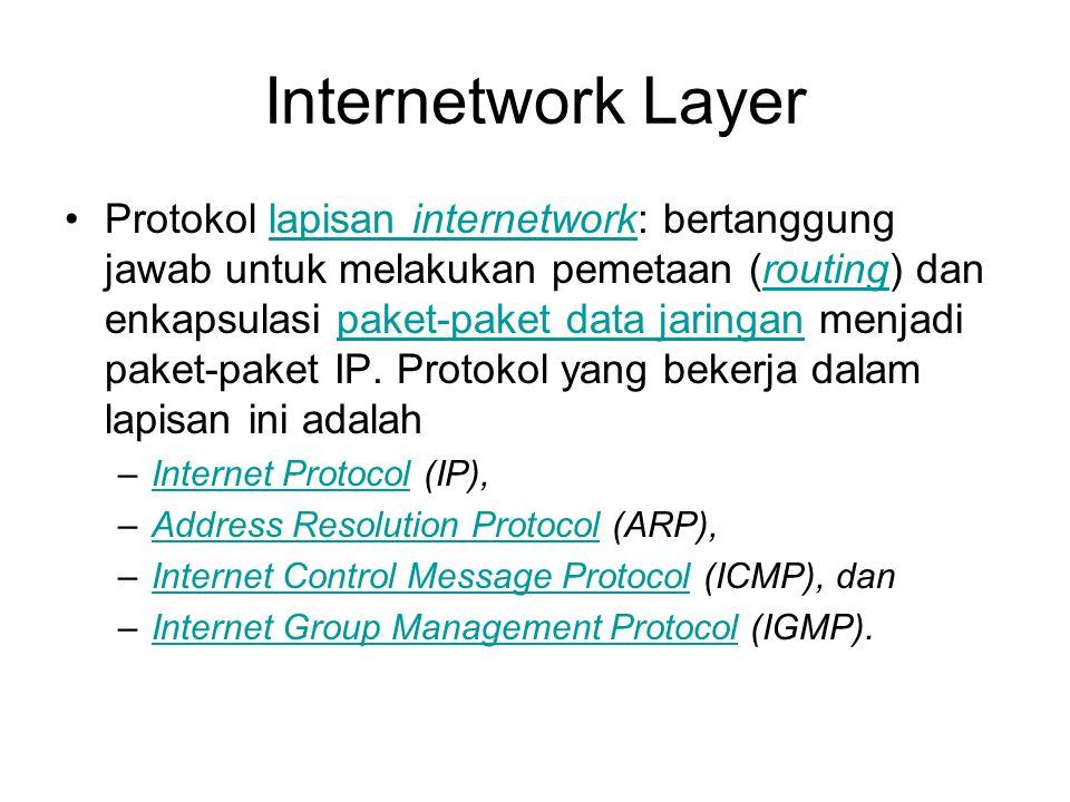 Internetwork Layer Protokol lapisan internetwork: bertanggung jawab untuk melakukan pemetaan (routing) dan enkapsulasi paket-paket data jaringan menjadi paket-paket IP.