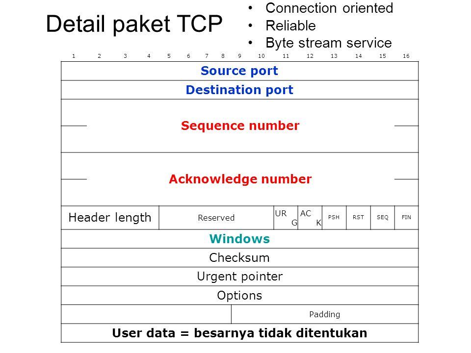 12345678910111213141516 Priority (0-7)lowhigh  1 VersionHeader lengthPrecedenceDTRunused Total length Identification DMFragment offset Time to live (seconds)Protocol Header checksum Source IP address (4 Byte) Destination IP address (4 Byte) Option (0 word atau lebih) Data  64 kB Detail paket IP Connectionless