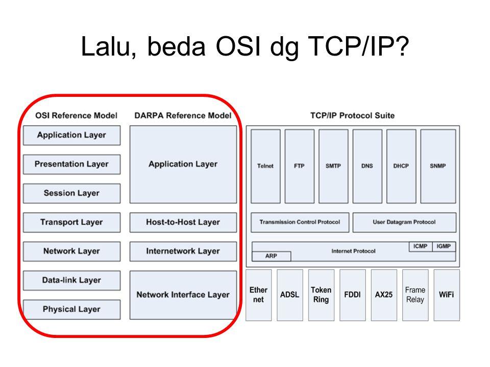 Lalu, beda OSI dg TCP/IP