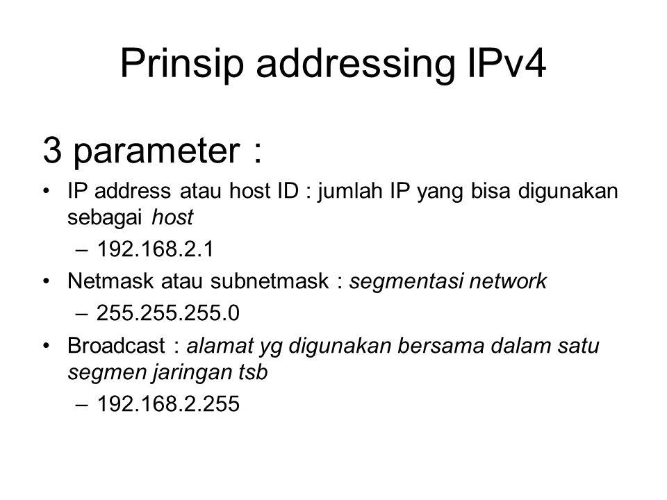 Prinsip addressing IPv4 3 parameter : IP address atau host ID : jumlah IP yang bisa digunakan sebagai host –192.168.2.1 Netmask atau subnetmask : segmentasi network –255.255.255.0 Broadcast : alamat yg digunakan bersama dalam satu segmen jaringan tsb –192.168.2.255