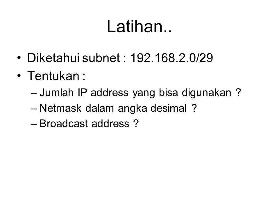 Latihan.. Diketahui subnet : 192.168.2.0/29 Tentukan : –Jumlah IP address yang bisa digunakan .