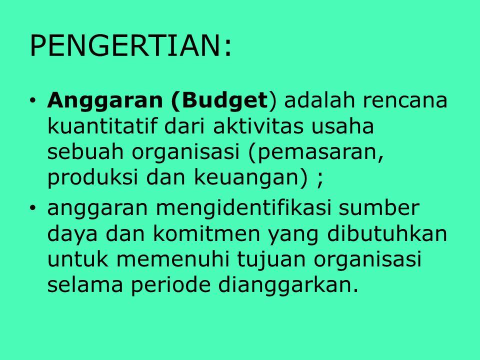 PENGERTIAN: Anggaran (Budget) adalah rencana kuantitatif dari aktivitas usaha sebuah organisasi (pemasaran, produksi dan keuangan) ; anggaran mengiden
