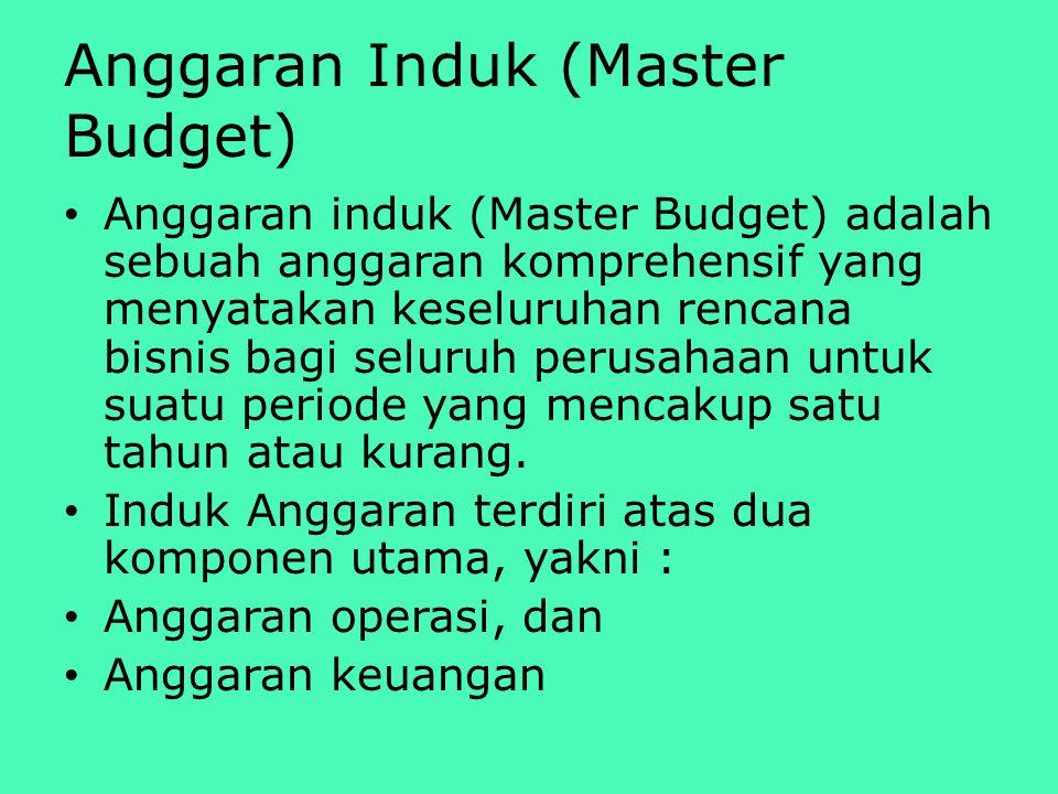 Anggaran Induk (Master Budget) Anggaran induk (Master Budget) adalah sebuah anggaran komprehensif yang menyatakan keseluruhan rencana bisnis bagi seluruh perusahaan untuk suatu periode yang mencakup satu tahun atau kurang.
