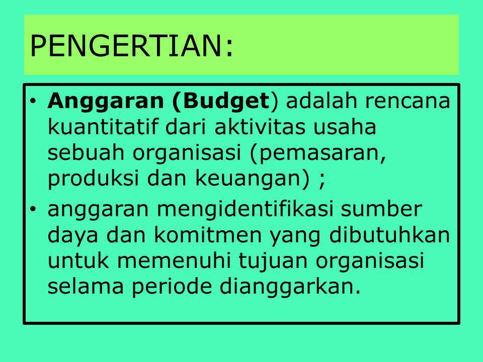 PENGERTIAN: Anggaran (Budget) adalah rencana kuantitatif dari aktivitas usaha sebuah organisasi (pemasaran, produksi dan keuangan) ; anggaran mengidentifikasi sumber daya dan komitmen yang dibutuhkan untuk memenuhi tujuan organisasi selama periode dianggarkan.