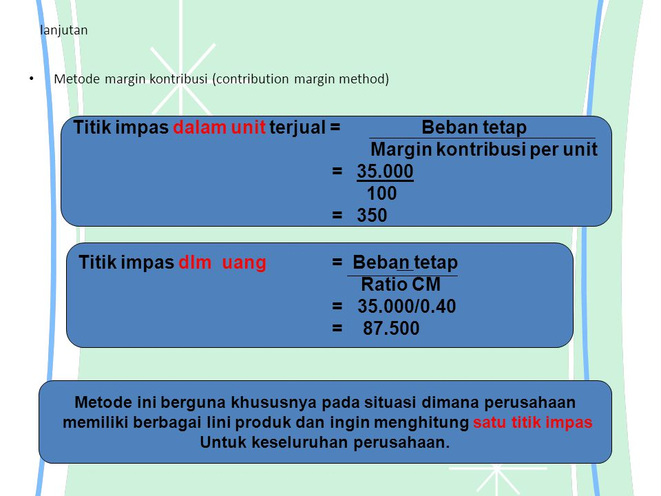 lanjutan Metode margin kontribusi (contribution margin method) Titik impas dalam unit terjual = Beban tetap Margin kontribusi per unit = 35.000 100 =