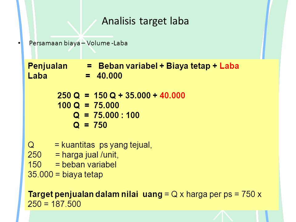 Analisis target laba Persamaan biaya – Volume -Laba Penjualan = Beban variabel + Biaya tetap + Laba Laba = 40.000 250 Q = 150 Q + 35.000 + 40.000 100