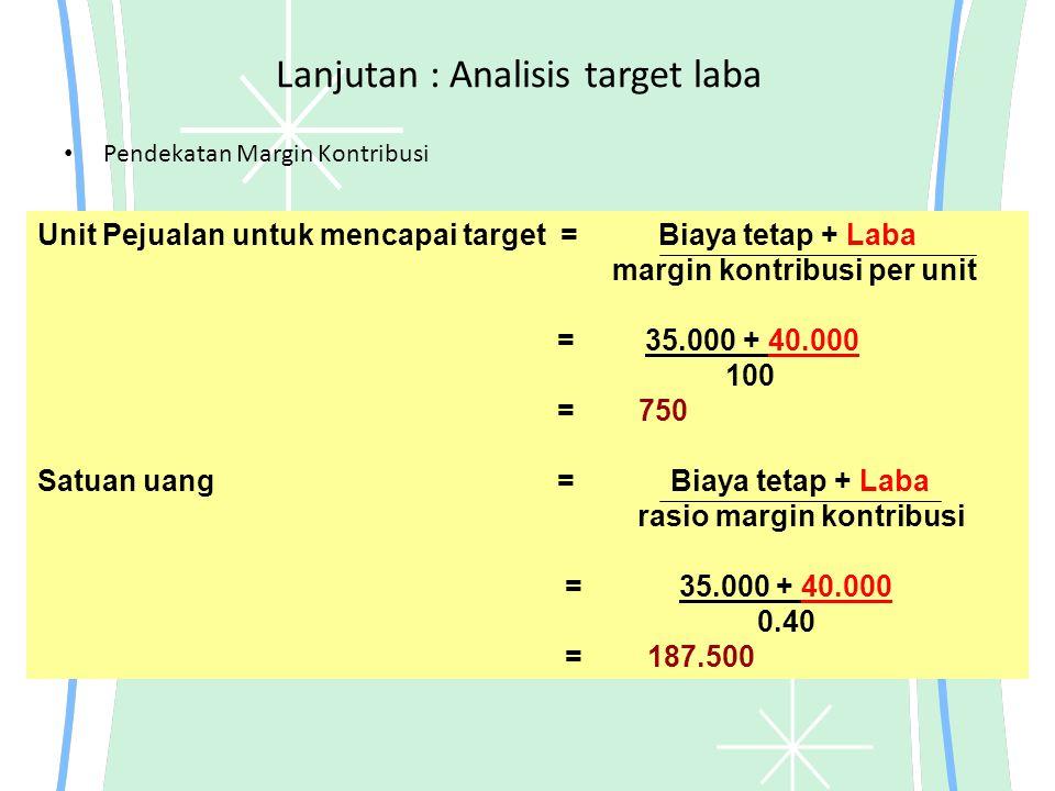Lanjutan : Analisis target laba Pendekatan Margin Kontribusi Unit Pejualan untuk mencapai target = Biaya tetap + Laba margin kontribusi per unit = 35.