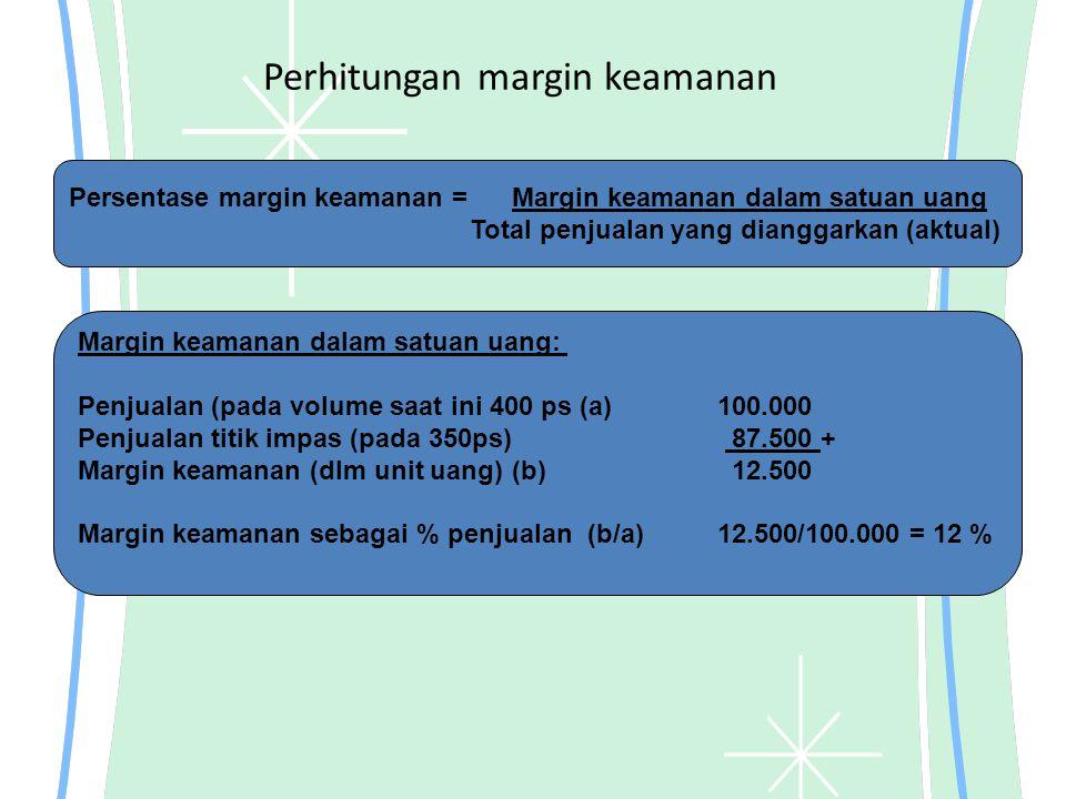 Perhitungan margin keamanan Persentase margin keamanan = Margin keamanan dalam satuan uang Total penjualan yang dianggarkan (aktual) Margin keamanan d