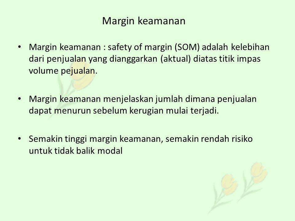 Margin keamanan Margin keamanan : safety of margin (SOM) adalah kelebihan dari penjualan yang dianggarkan (aktual) diatas titik impas volume pejualan.