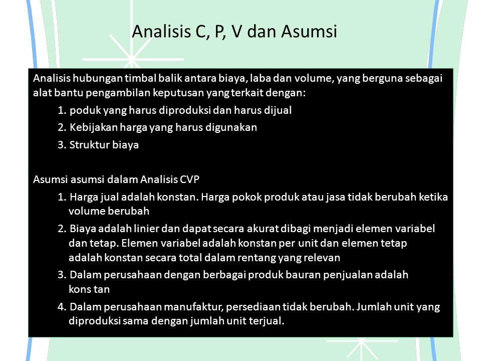 Analisis C, P, V dan Asumsi Analisis hubungan timbal balik antara biaya, laba dan volume, yang berguna sebagai alat bantu pengambilan keputusan yang t