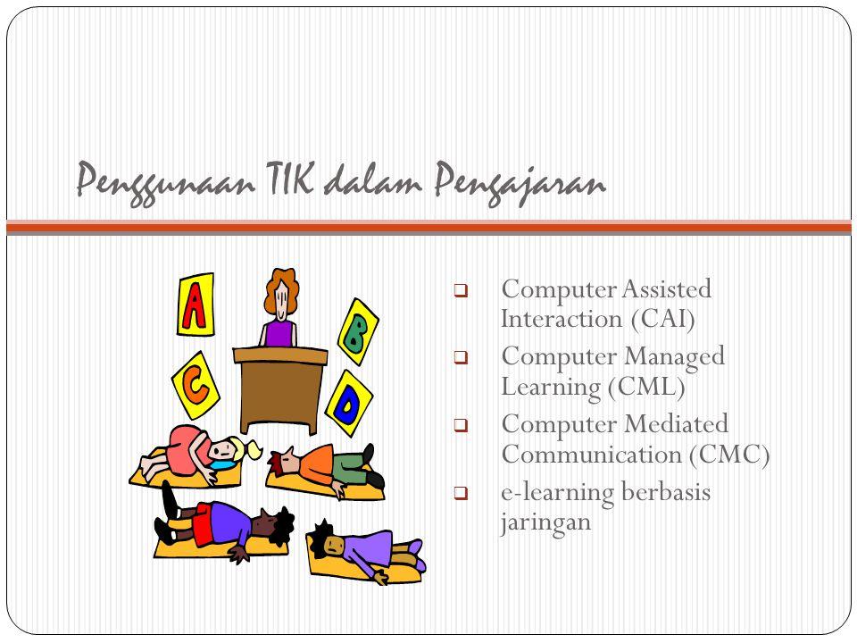 Penggunaan TIK dalam Pengajaran  Computer Assisted Interaction (CAI)  Computer Managed Learning (CML)  Computer Mediated Communication (CMC)  e-le