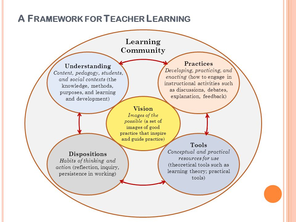 A F RAMEWORK FOR T EACHER L EARNING Vision Images of the possible (a set of images of good practice that inspire and guide practice) Learning Communit