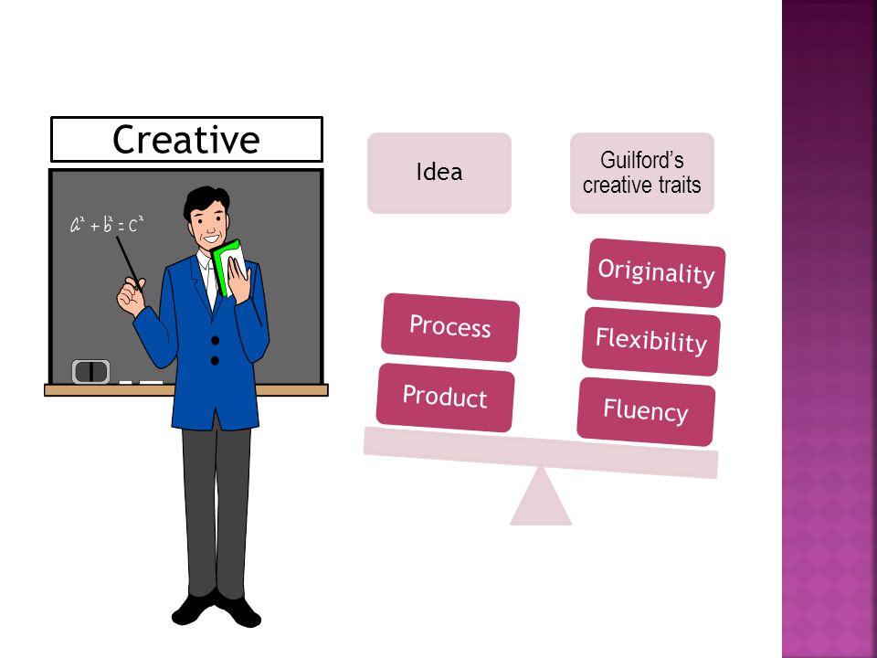 Idea Guilford's creative traits FluencyFlexibility Originalit y ProductProcess Creative