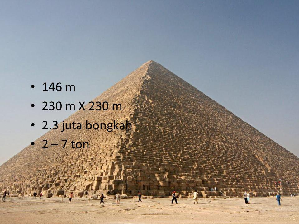 146 m 230 m X 230 m 2.3 juta bongkah 2 – 7 ton