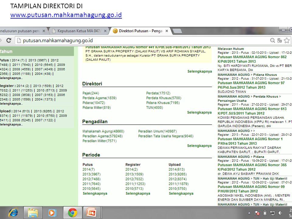 TAMPILAN DIREKTORI DI www.putusan.mahkamahagung.go.id www.putusan.mahkamahagung.go.id