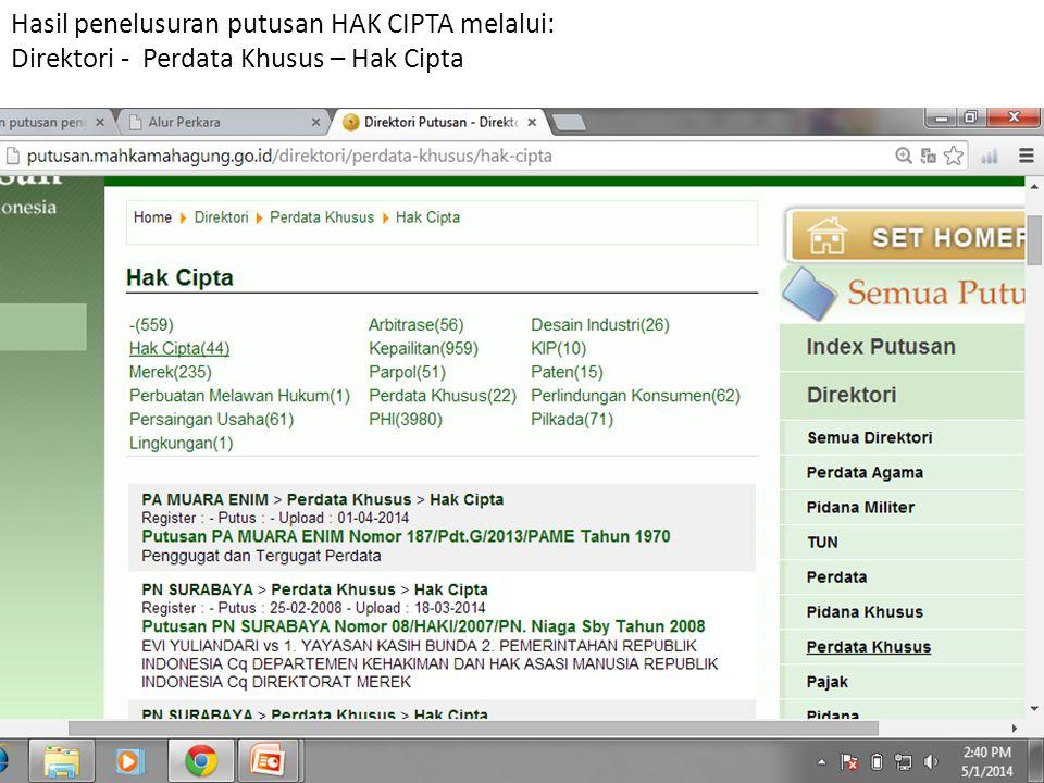 Hasil penelusuran putusan HAK CIPTA melalui: Direktori - Perdata Khusus – Hak Cipta