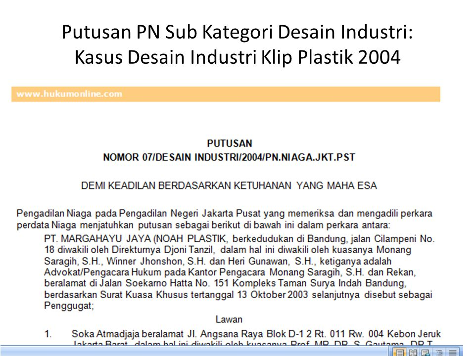 Putusan PN Sub Kategori Desain Industri: Kasus Desain Industri Klip Plastik 2004