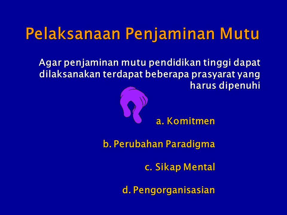 Pelaksanaan Penjaminan Mutu a.Komitmen b.Perubahan Paradigma c.Sikap Mental d.Pengorganisasian Agar penjaminan mutu pendidikan tinggi dapat dilaksanak