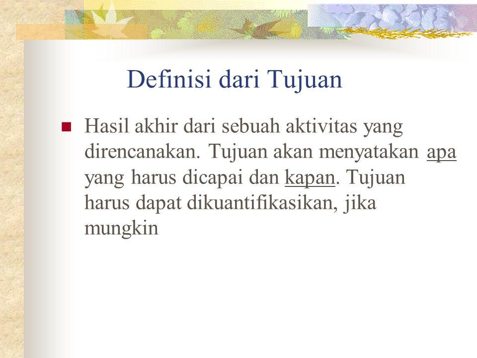 Definisi dari Tujuan Hasil akhir dari sebuah aktivitas yang direncanakan.