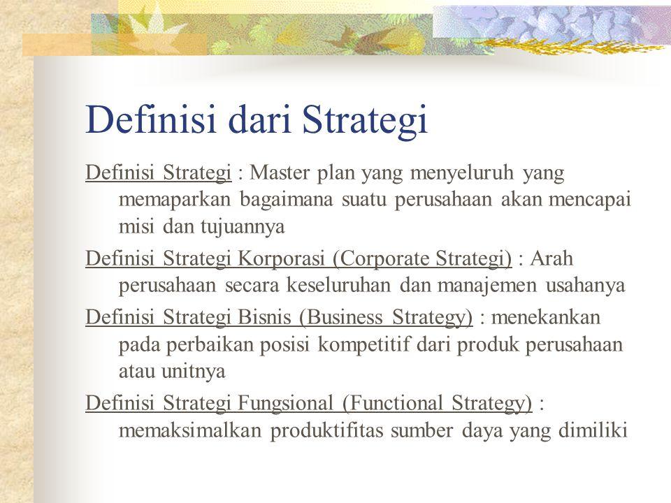 Definisi dari Strategi Definisi Strategi : Master plan yang menyeluruh yang memaparkan bagaimana suatu perusahaan akan mencapai misi dan tujuannya Definisi Strategi Korporasi (Corporate Strategi) : Arah perusahaan secara keseluruhan dan manajemen usahanya Definisi Strategi Bisnis (Business Strategy) : menekankan pada perbaikan posisi kompetitif dari produk perusahaan atau unitnya Definisi Strategi Fungsional (Functional Strategy) : memaksimalkan produktifitas sumber daya yang dimiliki