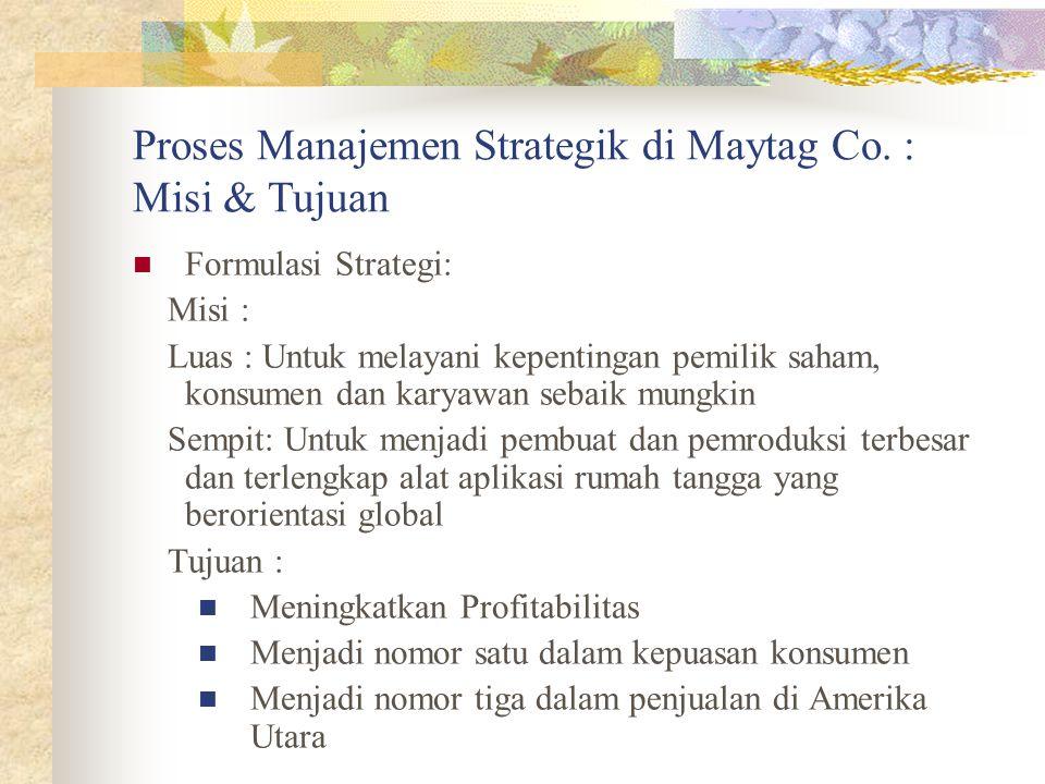 Proses Manajemen Strategik di Maytag Co. : Misi & Tujuan Formulasi Strategi: Misi : Luas : Untuk melayani kepentingan pemilik saham, konsumen dan kary