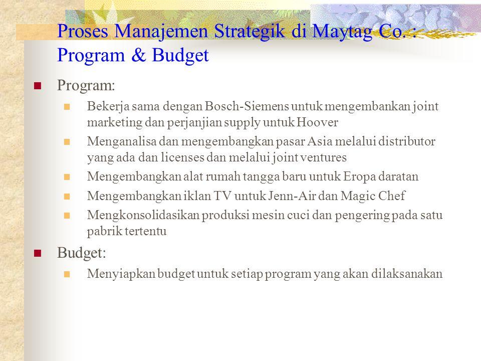 Proses Manajemen Strategik di Maytag Co. : Program & Budget Program: Bekerja sama dengan Bosch-Siemens untuk mengembankan joint marketing dan perjanji
