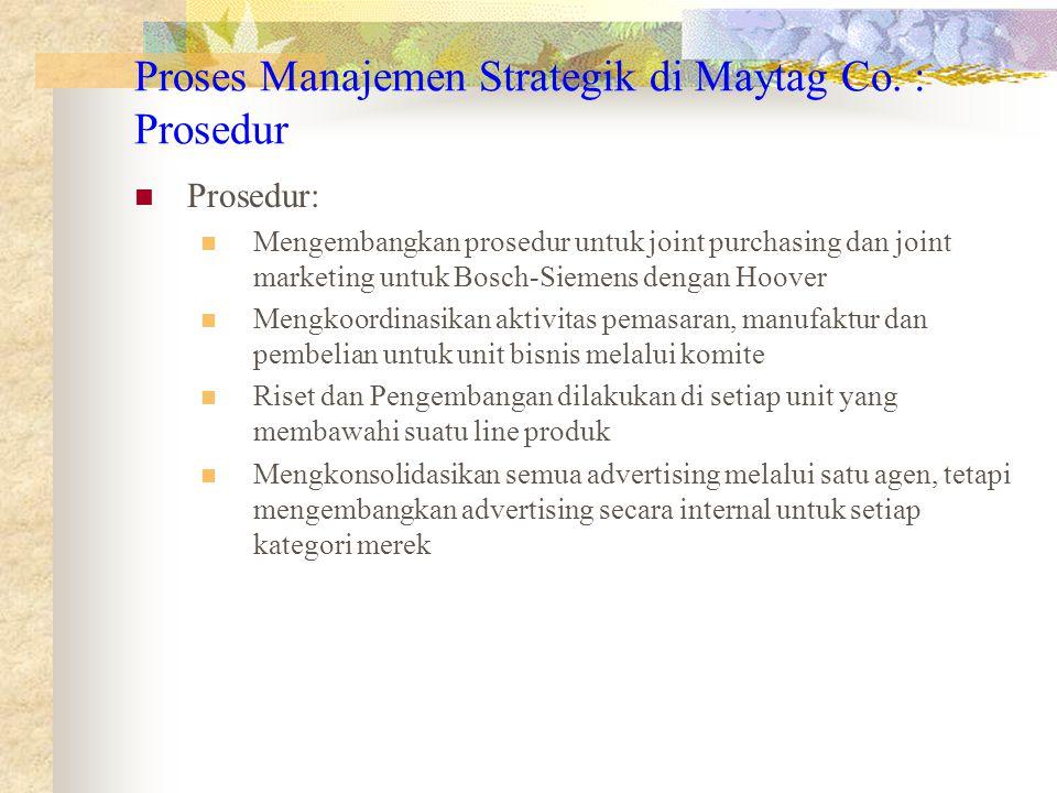 Prosedur: Mengembangkan prosedur untuk joint purchasing dan joint marketing untuk Bosch-Siemens dengan Hoover Mengkoordinasikan aktivitas pemasaran, m