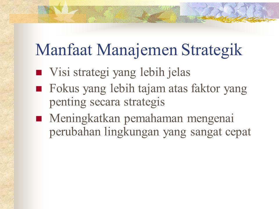 Manfaat Manajemen Strategik Visi strategi yang lebih jelas Fokus yang lebih tajam atas faktor yang penting secara strategis Meningkatkan pemahaman mengenai perubahan lingkungan yang sangat cepat