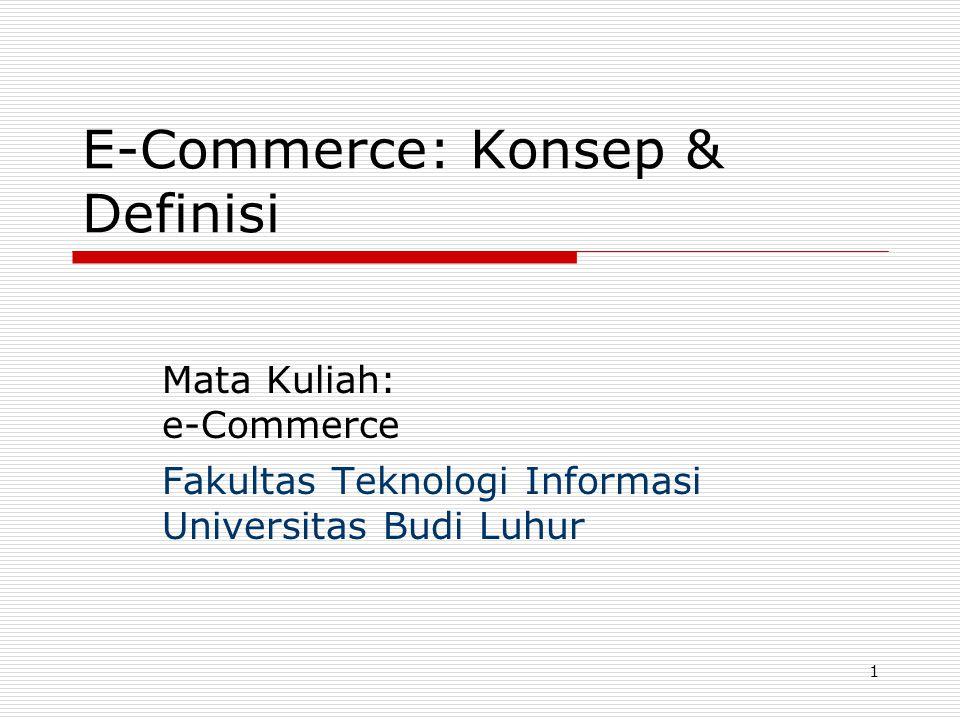 Gasal 2004FTI - UBL42 Manfaat e-Commerce (lanjut)  Dimana saja – kapan saja  Lebih banyak pilihan produk dan jasa  Harga lebih murah  Pengiriman/pe- nyampaian segera  Ketersediaan informasi  Kesempatan berpartisipasi  Wahana komunitas elektronik  Personalisasi, sesuai selera  Tidak dikenai pajak penjualan Manfaat bagi konsumen: