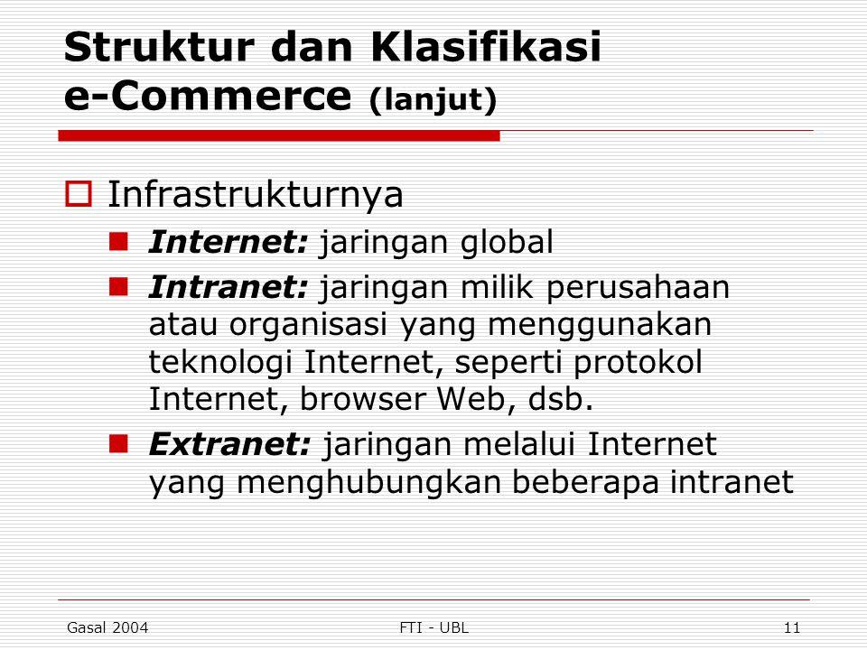 Gasal 2004FTI - UBL11 Struktur dan Klasifikasi e-Commerce (lanjut)  Infrastrukturnya Internet: jaringan global Intranet: jaringan milik perusahaan at