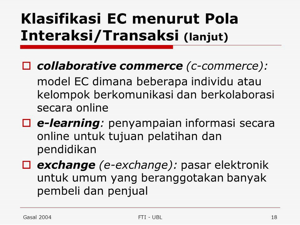 Gasal 2004FTI - UBL18 Klasifikasi EC menurut Pola Interaksi/Transaksi (lanjut)  collaborative commerce (c-commerce): model EC dimana beberapa individ