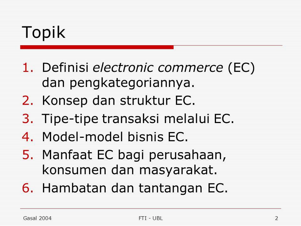 Gasal 2004FTI - UBL43 Manfaat e-Commerce (lanjut)  Manfaat bagi masyarakat: Memungkinkan telecommuting Peningkatan kualitas hidup Dapat menolong masyarakat yang kurang mampu Kemudahan mendapatkan layanan umum