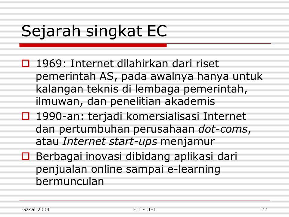 Gasal 2004FTI - UBL22 Sejarah singkat EC  1969: Internet dilahirkan dari riset pemerintah AS, pada awalnya hanya untuk kalangan teknis di lembaga pem