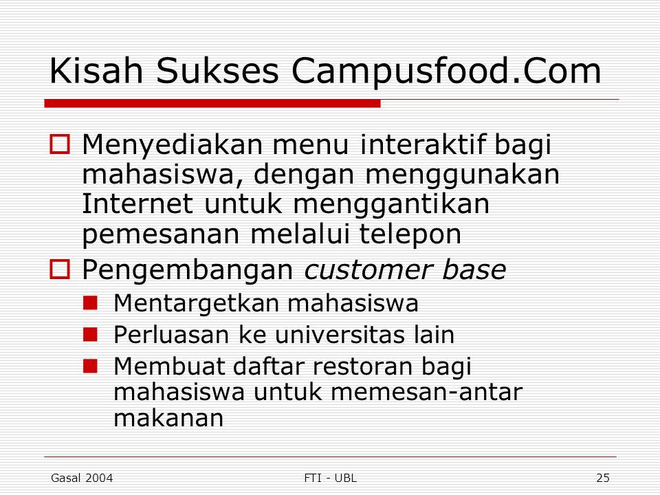 Gasal 2004FTI - UBL25 Kisah Sukses Campusfood.Com  Menyediakan menu interaktif bagi mahasiswa, dengan menggunakan Internet untuk menggantikan pemesan