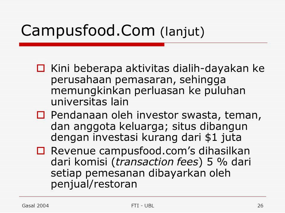Gasal 2004FTI - UBL26 Campusfood.Com (lanjut)  Kini beberapa aktivitas dialih-dayakan ke perusahaan pemasaran, sehingga memungkinkan perluasan ke pul