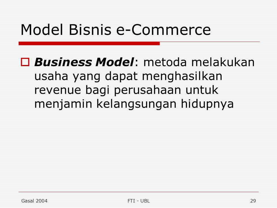 Gasal 2004FTI - UBL29 Model Bisnis e-Commerce  Business Model: metoda melakukan usaha yang dapat menghasilkan revenue bagi perusahaan untuk menjamin
