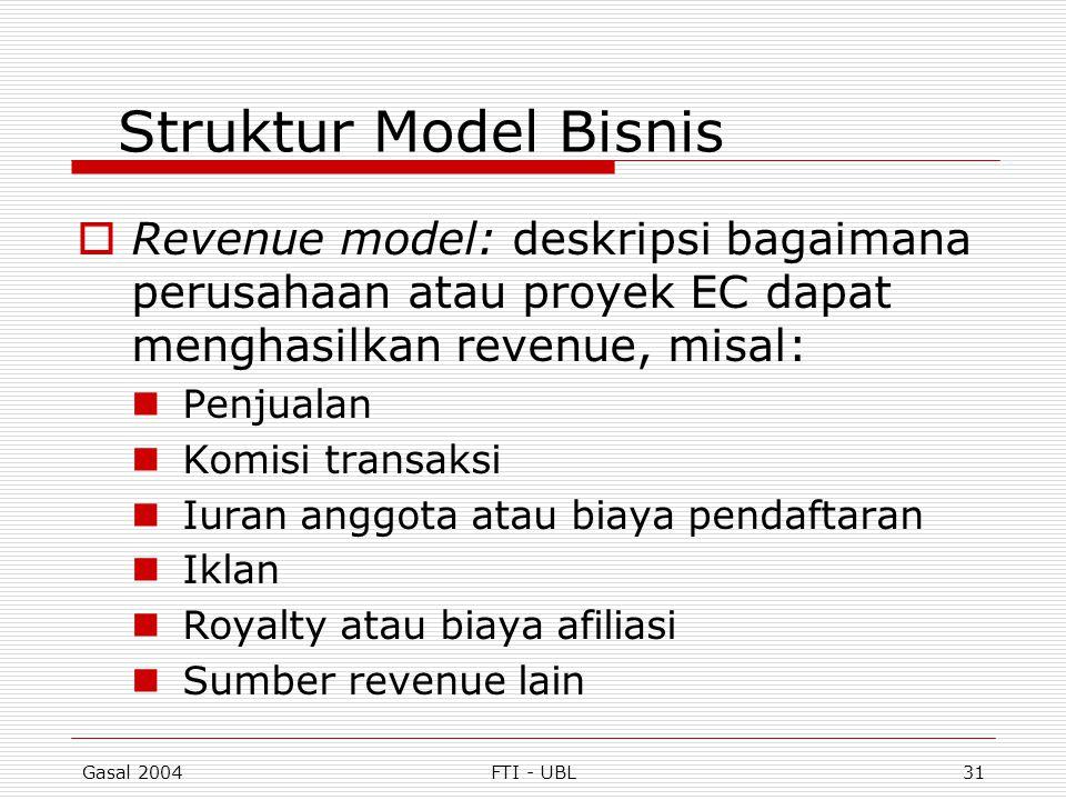Gasal 2004FTI - UBL31 Struktur Model Bisnis  Revenue model: deskripsi bagaimana perusahaan atau proyek EC dapat menghasilkan revenue, misal: Penjuala