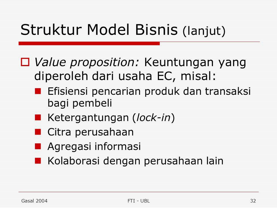 Gasal 2004FTI - UBL32 Struktur Model Bisnis (lanjut)  Value proposition: Keuntungan yang diperoleh dari usaha EC, misal: Efisiensi pencarian produk d