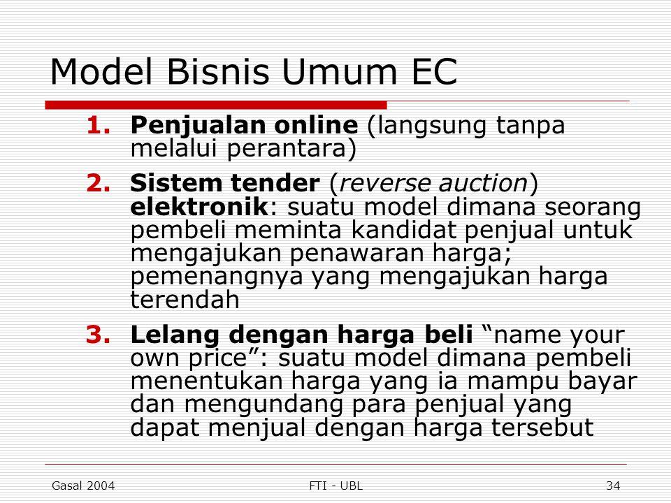 Gasal 2004FTI - UBL34 Model Bisnis Umum EC 1.Penjualan online (langsung tanpa melalui perantara) 2.Sistem tender (reverse auction) elektronik: suatu m